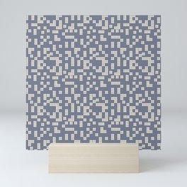 Dotted blue and white Mini Art Print