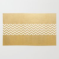 gold foil Area & Throw Rugs featuring Gold Foil With White Chevron  by Joel M Young