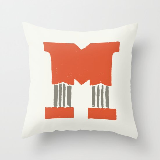M Lettering Throw Pillow