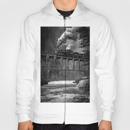 Steam Engine on a trestle river black and white photograph / art photography  Hoody