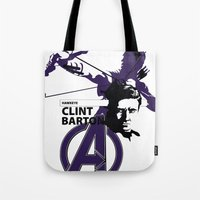 clint barton Tote Bags featuring Clint by Mad42Sam