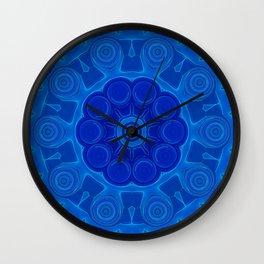 Shades of Blue Kaleidoscope Flower Art Wall Clock