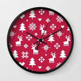 WINTER FOREST RED - PIXEL PATTERN Wall Clock