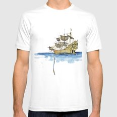Sailing Ship Mens Fitted Tee White MEDIUM