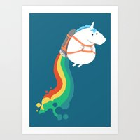 fat Art Prints featuring Fat Unicorn on Rainbow Jetpack by Picomodi
