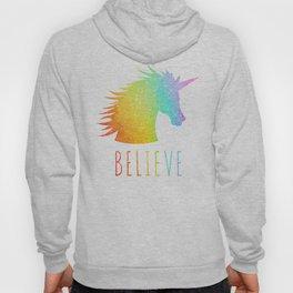 Believe  |  Rainbow Glitter Unicorn Hoody