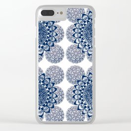 Navy and White Floral Mandalas Clear iPhone Case