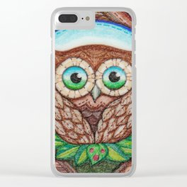 Owlan is awake Clear iPhone Case