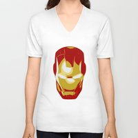 ironman V-neck T-shirts featuring Ironman by Adel