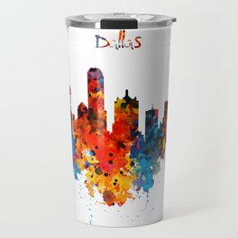 Dallas Watercolor Skyline Travel Mug