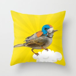Little bird on little cloud 2 Throw Pillow
