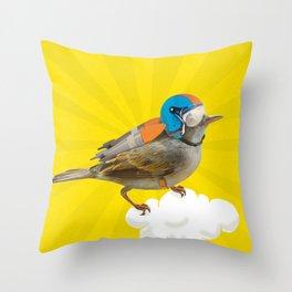 Little bird on little cloud 2 Throw Pillow