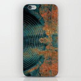 Blue cracked music speakers iPhone Skin