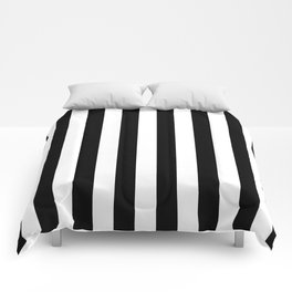 Parisian Black & White Stripes (vertical) Comforters