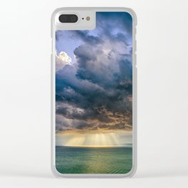 Heavenly lights through storm clouds over Lake Balaton Clear iPhone Case