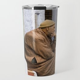 Moroccan man thinking Travel Mug