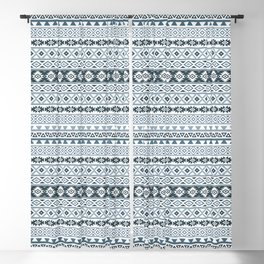 Aztec Stylized Pattern Gray-Blues & White Blackout Curtain