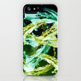 Green and Gold Expressionism iPhone Case