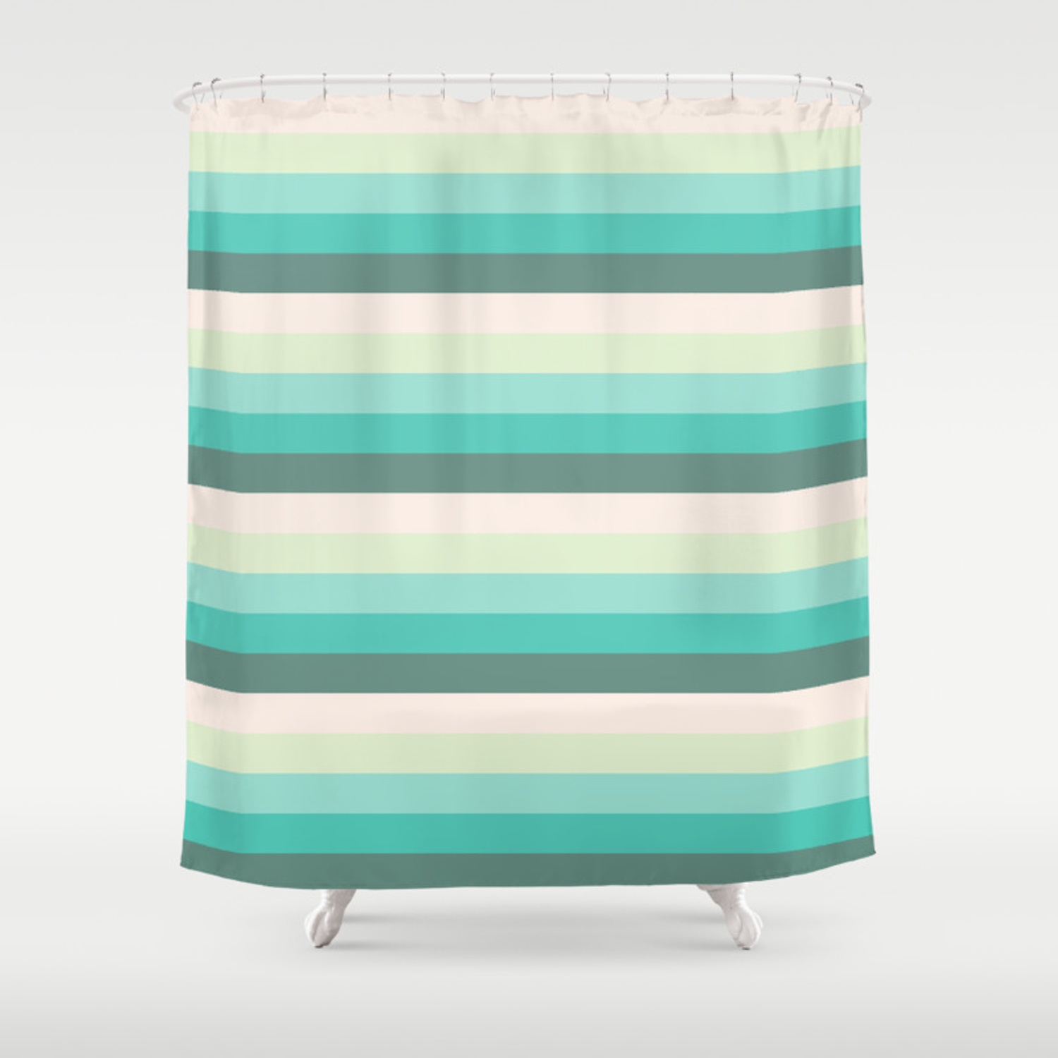Soft Green Stripes Shower Curtain