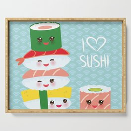 I love sushi. Kawaii funny sushi set with pink cheeks and big eyes, emoji. Blue japanese pattern Serving Tray