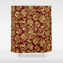 Red & Gold Floral Damasks Pattern Shower Curtain