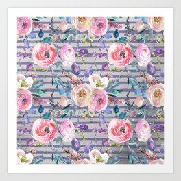 Pink lavender watercolor geometrical floral stripes Art Print