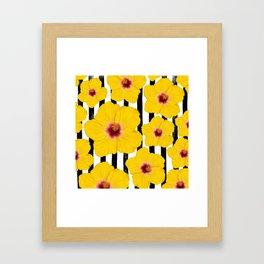 Summer Hibiscus Fun on Black & White Stripes Framed Art Print