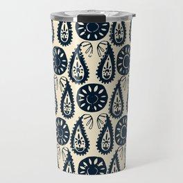 paisley block indigo ivory Travel Mug