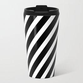 Black and White Diagonal Stripes Travel Mug