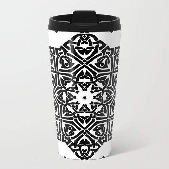 Celtic Knot Ornament Pattern Black and White Metal Travel Mug
