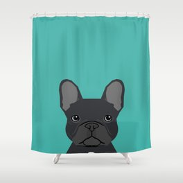 French Bulldog black coat peeking cute frenchie pure breed dog lover gifts Shower Curtain