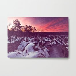 Great Falls Winter Twilight - Violet Velvet Fantasy Metal Print