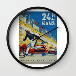 24hs Le Mans, 1959, vintage poster Wall Clock