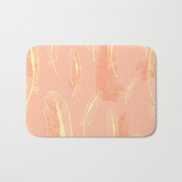Peach Feather Pattern Bath Mat