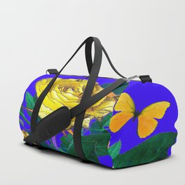ROSES & YELLOW BUTTERFLIES INDIGO PURPLE VIGNETTE ABSTRACT Duffle Bag