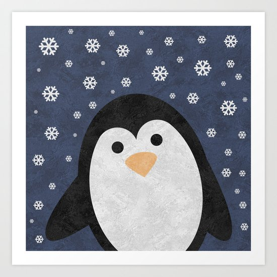 Christmas Penguin Marble Art Print