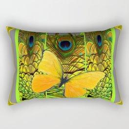 GREEN ART NOUVEAU BUTTERFLY PEACOCK PATTERNS Rectangular Pillow