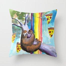 sloth pizza rainbow Throw Pillow