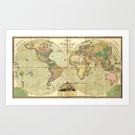 World Map (1826) Art Print