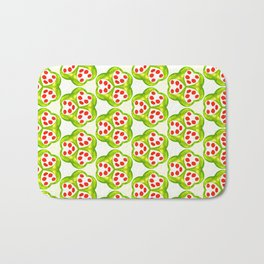 Seed Pods in Red and Green Bath Mat