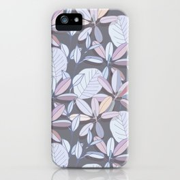 Leaf pattern | pale purple, grey and blue iPhone Case