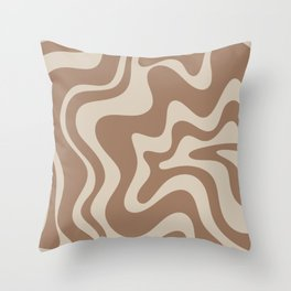 Liquid Swirl Contemporary Abstract Pattern in Chocolate Milk Brown and Beige Throw Pillow