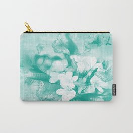 Butterflies and tropical flowers in stunning teal Carry-All Pouch
