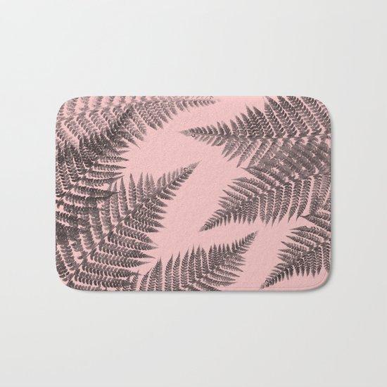 Ferns on Pink Bath Mat
