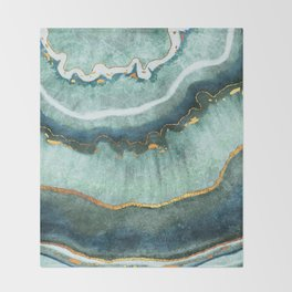 Gold Turquoise Agate Throw Blanket