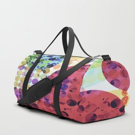 geometric circle pattern abstract background in red pink yellow orange green Duffle Bag