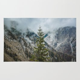 A Pine Tree Surrounded by Mountains in Austria.    Schneealpe, Österreich Rug