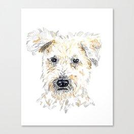 Wheaton Terrier Watercolor Dog Portrait Canvas Print