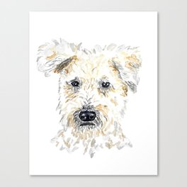 Wheaton Terrier Watercolor Dog Portrait Canvas Print