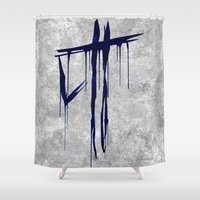 last of us Shower Curtains featuring The Last Of Us Hunters (Blue) by Some_Designs
